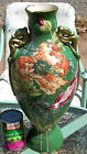 OLD VASE ORIENTAL DRAGONS ANTIQUE PORCELAIN POTTERY GOLD ENAMELED 18