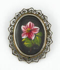 c.1900 ANTIQUE MINIATURE PAINTING FLOWER SILVER .800 PIN/BROOCH/PENDANT - Signed