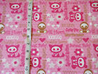 Pink Duck Kitty Bear Babies & Phrases X-RAY Animals Flannel Cotton Fabric BTY