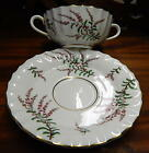 ROYAL WORCESTER 2pc CREAM SOUP DUNROBIN PURPLE FLOWERS GREEN LEAVES GOLD TRIM