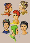 2 Style 1960's Millinery Vintage RETRO MOD Groovy HAT Cap Sewing Fabric Pattern