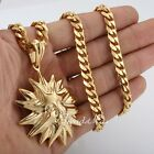New Men Boy Tribe Sun Gold Tone 316L Stainless Steel PENDANT Necklace Gift 22