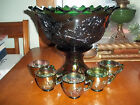Antique Fenton CARNIVAL Glass**PUNCH BOWL**5 Cups/Green Wreath of Rose