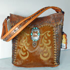 New Montana West Trinity Ranch, Embossed Bucket Hobo w/ Leather Front- Brown