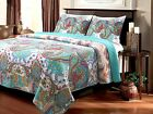 KING Teal Blue Turquoise Paisley Quilt Coverlet Bedspread Floral Boho Moroccan