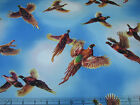 3 Yards Quilt Cotton Fabric - QT Pheasant Country Birds Flying Allover Sky
