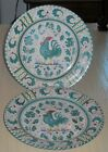 Pair Antique Deruta Italian Majolica Pottery Round Platter Chop Plates  Rooster