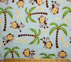 SNUGGLE FLANNEL MONKEYS PALM TREESHOT PINK BROWN 100 Cotton Fabric NEW BTY