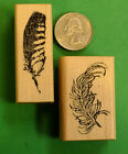 Bird Feathers Set of 2 Wood Mounted Rubber Stamps
