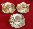 3 VINTAGE CUPS & SAUCERS UCAGCO CHINA HAND PAINTED CHERUBS