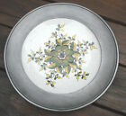 Costa Numbered Signed Stoneware Plate with Pewter Rim Floral Ceramic Pottery VTG
