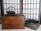Japanese old small Wood HIBACHI set with TETSUBIN & GOTOKU & etc/antique / KYOTO