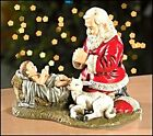 Adoring Santa Kneeling down with Baby Jesus and Lamb statue Christian gift