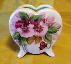 Vtg Pink Footed Heart Shaped Vase/Planter w Hand Painted Roses Signed: Joyce
