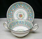10 Wedgwood FLORENTINE TURQUOISE W2714 Cream Soup Bowls & Saucers