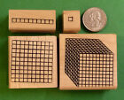 Place Value Number Grid Rubber Stamp Set of 4 1s 10s 100s 1000s Wood Mtd