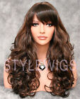 Long Big Curls Full Volume Dark Brown & Auburn Mix Curly Wavy Wig WICA 4/30