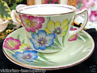 FOLEY TEA CUP AND SAUCER LIME GREEN FLORAL PAINTED PATTERN TEACUP