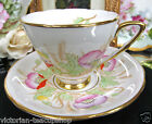ROYAL STAFFORD TEA CUP AND SAUCER POPPY PAINTED TEACUP BEADED POINTS