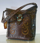 New Montana West Trinity Ranch, Embossed Bucket Hobo w/ Leather Front- Coffee