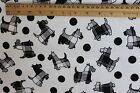 SNUGGLE FLANNEL SCOTTIE DOGBLACK PLAID SILHOUETTE WHITE 100 Cotton Fabric BTY