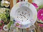 VINTAGE TEA STRAINER PORCELAIN FLORAL DESIGN GOLD TRIM TEA BAG STRAINER