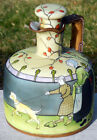 SIGNED NIPPON HAND PAINTED ENAMELED WHISKEY JUG w/ORIGINAL STOPPER