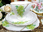 ROYAL STANDARD TEA CUP AND SAUCER GREEN FLORAL PATTERN HANDPAINTED FLOWERS