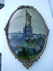 Antique Reverse Painted Statue Of Liberty on Convex Bubble Glass with Tin Frame