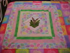 APPLIQUED EASTER BUNNY  ON POINT BABY QUILT TOP, LAP, WALL HANGING 40