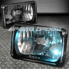 4x6 H4651 DIAMOND CUT SQUARE BLACK CRYSTAL HOUSING HEADLIGHT+H4 BULBS+BLUE BEAMS