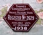 1938 Vintage Car Boat Mascot Badge : Thames Conservancy Pleasure Vessel