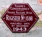 1943 Vintage Car Boat Mascot Badge : Thames Conservancy Pleasure Vessel