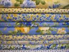 Moda Fabric ~ 9pc 9 yards SUMMER BREEZE group Blue & Yellow French Country Rose