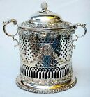 Antique English Silver Plated Sheffield Biscuit Barrel Cobalt Blue Glass 1860