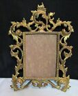 ANTIQUE 1800s VICTORIAN CAST BRASS GOLD ORMOLU ROCOCO HANGING PICTURE FRAME