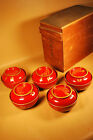 5 Vintage 1906 Japanese Lacquer Tea or Rice Bowls  / Gold Mackie # 1 of 2