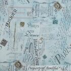 BonEful Fabric FQ Cotton Quilt VTG Blue Paris European French Country Word Dance