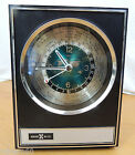 Vintage Plastic Faux Wood Howard Miller Quartz World Time & Date Mantle Clock