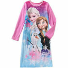 Frozen Queen Elsa Princess Anna Olaf Nightgown Flannel Sleep Gown Disney Pajamas