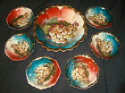 7Pc Vintage ZS & Co Zeh Scherzer Bavaria Fruit Grapes Large Berry Bowl Set Gold