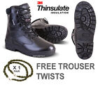Mens Army Military Combat Full All Leather Work Cadet Boot Black +Free Twists
