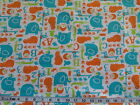 ANIMAL ABC COTTON FLANNEL FABRIC Elephant Hippo Giraffe Gator Cat  Fat Quarter