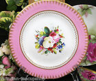 ANTIQUE PAINTED FLORAL ROSES 1880'S ENGLAND PLATE PINK & GOLD GILT