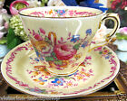 CROWN STAFFORDSHIRE TEA CUP AND SAUCER ROSES FLORAL PAINTED BASKET OF FLOWERS
