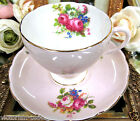 FOLEY TEA CUP AND SAUCER PINK  AND FLORAL PATTERN TEACUP ROSES TULIPS