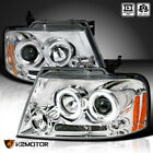 2004-2008 Ford F150 Halo LED Projector Headlights Chrome Pair Left+Right
