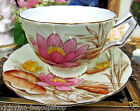 AYNSLEY TEA CUP AND SAUCER PASTEL & WATER LILY FLORAL PATTERN TEACUP CROCUS