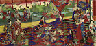 """CHIKANOBU Japanese woodblock triptych   """"Emperor and Empress viewing the Garden"""""""