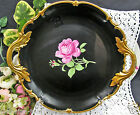 NC WESTERN GERMANY HAND PAINTED ROSE BLACK BEAUTY PATTERN CHARGER